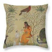 Noble Woman In A Garden Throw Pillow
