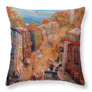 Noisy Street Throw Pillow