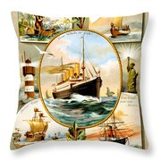 Norddeutscher Lloyd Bremen Vintage Travel Poster Throw Pillow