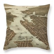 Norfolk And Portsmouth Map Throw Pillow