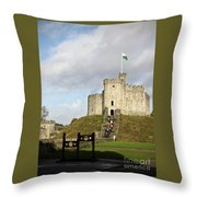 Norman Keep At Cardiff Castle Throw Pillow