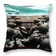 Normandy Soldiers Throw Pillow