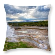 Norris Geyser Basin Throw Pillow