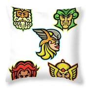 Norse Gods Mascot Collection Throw Pillow