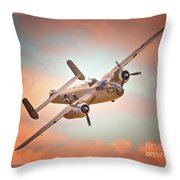 Pacific Princess North American B-25 Mitchell Across Rosy Skies Throw Pillow