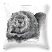 North American Beaver Throw Pillow