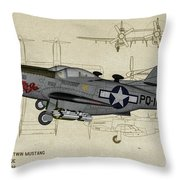 North American F-82b Twin Mustang - Profile Art Throw Pillow