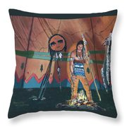 North American Indian Contemplating Throw Pillow