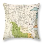 North American Indian Tribes, 1833 Throw Pillow