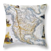 North American Map, 1851 Throw Pillow