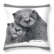 North American River Otters Throw Pillow
