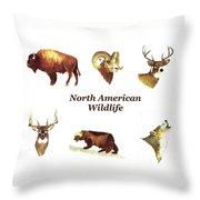 North American Wildlife Throw Pillow