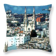 North Beach San Francisco - Watercolor Throw Pillow