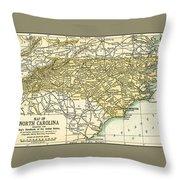 North Carolina Antique Map 1891 Throw Pillow
