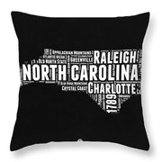 North Carolina Black And White Word Cloud Map Throw Pillow
