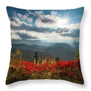 North Carolina Blue Ridge Parkway Scenic Landscape In Autumn Throw Pillow
