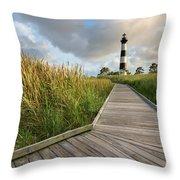North Carolina Bodie Island Lighthouse Summer Throw Pillow