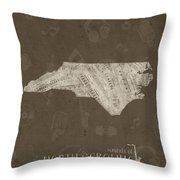 North Carolina Map Music Notes 3 Throw Pillow