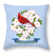 North Carolina State Bird And Flower Throw Pillow by Crista Forest