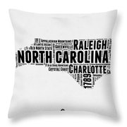 North Carolina Word Cloud Map 2 Throw Pillow