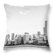 North Chicago Skyline Panorama In Black And White Throw Pillow
