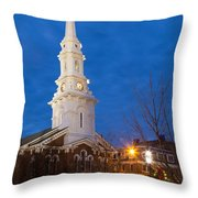 North Church At Twilight, Portsmouth, New Hampshire Throw Pillow
