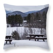 North Conway Winter Mountains Throw Pillow