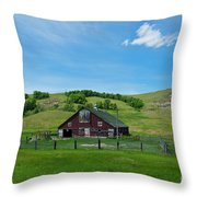 North Dakota Barn Throw Pillow