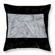 North Dakota Map Music Notes 2 Throw Pillow