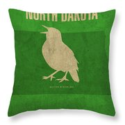 North Dakota State Facts Minimalist Movie Poster Art Throw Pillow