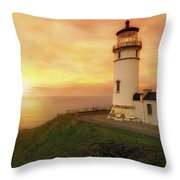 North Head Lighthouse At Sunset Throw Pillow