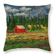 North Idaho Farm Throw Pillow
