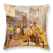 North India Street Scene Throw Pillow