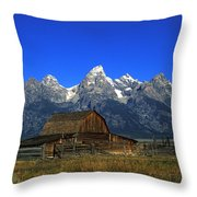 North Moulton Barn Grand Tetons Throw Pillow