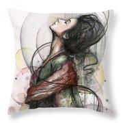 Beautiful Lady Throw Pillow