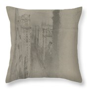 North On Broadway From Trinity Church Throw Pillow