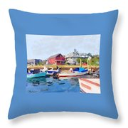 North Shore Art Association At Pirates Lane On Reed's Wharf From Beacon Marine Basin Throw Pillow