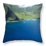 North Shore Cliff Coast Line Throw Pillow