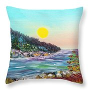 North With Yellow Sun Throw Pillow