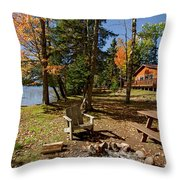 North Woods Lake Three Throw Pillow