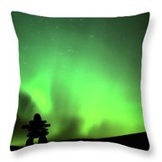 Northern Light Above An Inukchuk In Saskatchewan Throw Pillow