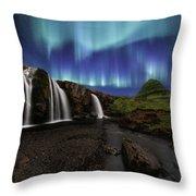 Northern Lights At Kirkjufellsfoss Waterfalls Iceland Throw Pillow