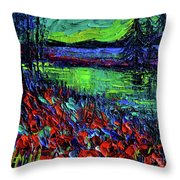 Northern Lights Embracing Poppies Throw Pillow