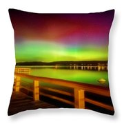 Northern Lights Over Okanagan Lake Canada Throw Pillow