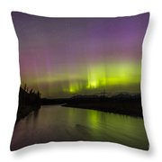 Northern Lights Over The North Fork Of The Flathead River Throw Pillow