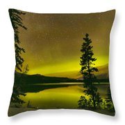 Northern Lights Over The Pines Throw Pillow