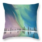 Northern Lights The Wolf And The Comet  Throw Pillow by Jackie Novak