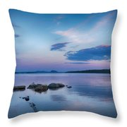 Northern Maine Sunset Over Lake Throw Pillow