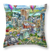 Northern Virginia Map Illustration Throw Pillow