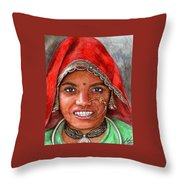 Northindian Woman Throw Pillow